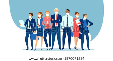 Vector of business people wearing face masks standing together as a team