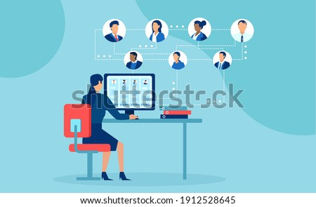 Vector of business people working from home chatting online using modern technology