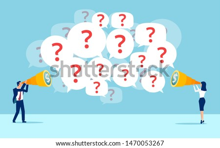 Vector of businessman and businesswoman searching for financial opportunities have many questions
