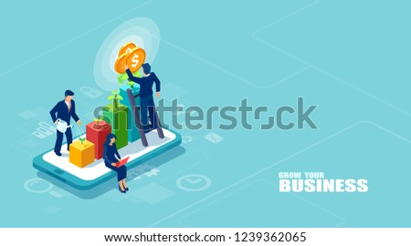 Vector of businesspeople working together and growing a successful online business on a digital tablet. Investments and finance concept