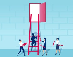 Vector of businesswomen working as a team to build a ladder to success
