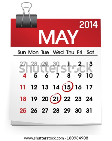 ShutterStock Vector of Calendar May 2014 180984908
