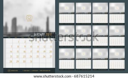 vector of calendar 2018 new