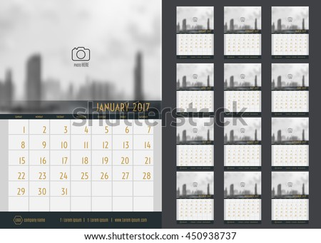 vector of calendar 2017 year