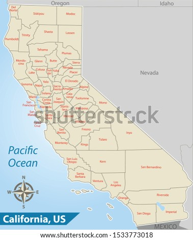 Vector of California. state of the United States with counties map