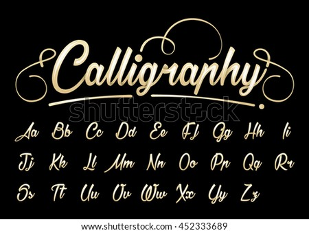 Vector of calligraphic font and alphabet