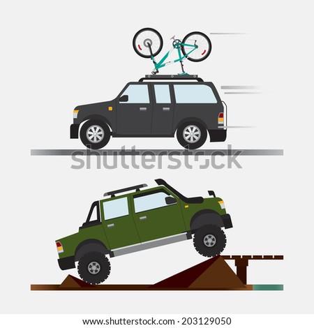 vector of car travel adventures