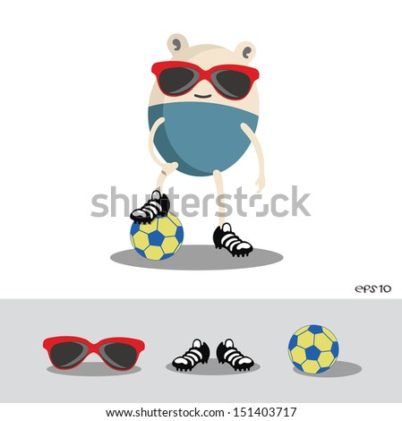 Vector of cartoon Soccer with one Foot on Soccer Ball