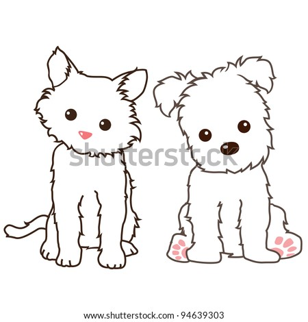 Vector of cat and dog lineart