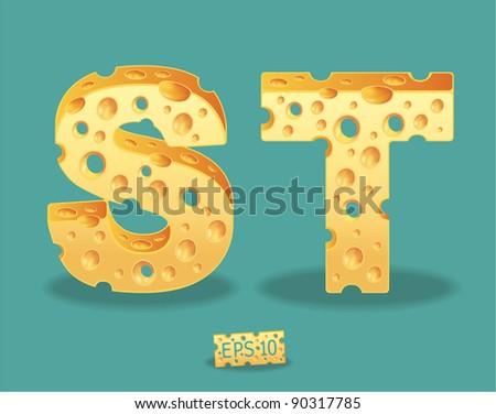 Vector of Cheese Alphabet