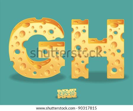 Vector of Cheese Alphabet - stock vector