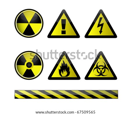 Vector of chemical hazard symbols on white
