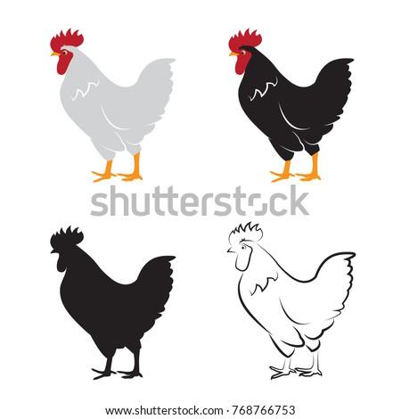 Vector of chicken design on white background. Hen. Farm Animals.