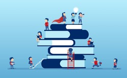 Vector of children, students climbing up on a top of a stack of books eager to learn
