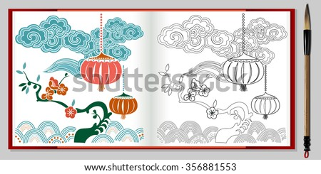 vector of chinese lantern and