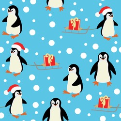 Vector of Christmas,New year seamless pattern with cute pinguins,sledge,gifts box and snowfall