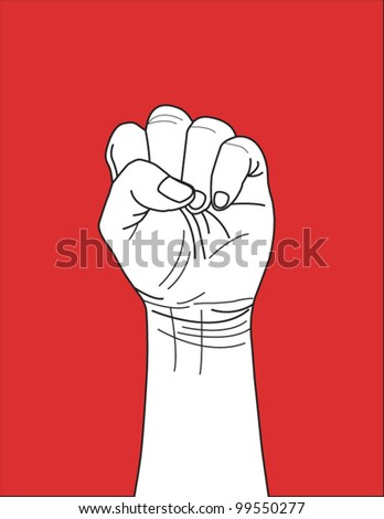 Vector of clenched fist held high, Winning, leading sign.