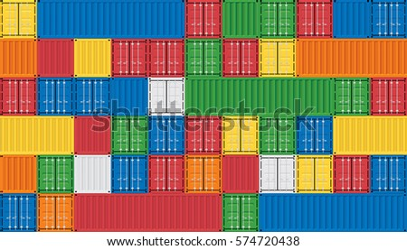 Vector of colorful cargo shipping containers for freight transport and global logistics.