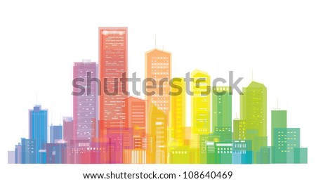 Vector of colorful city skyline