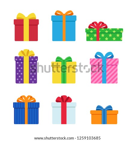 Vector of colorful gift box icons set, Simple flat design isolated on white background