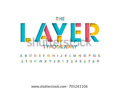vector of colorful layered font