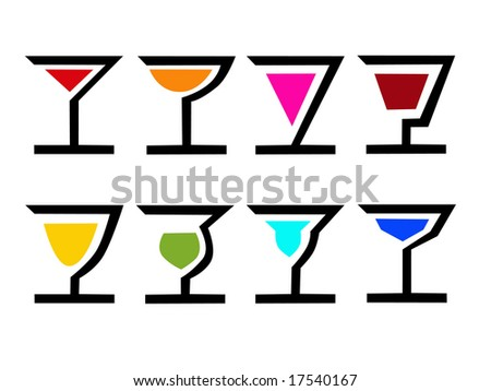 vector of 8 colorful logo cocktails