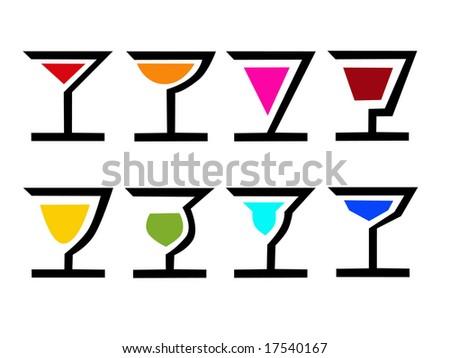 Cocktail Logo Vector Vector of 8 Colorful Logo