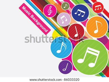 vector of colorful music notes background