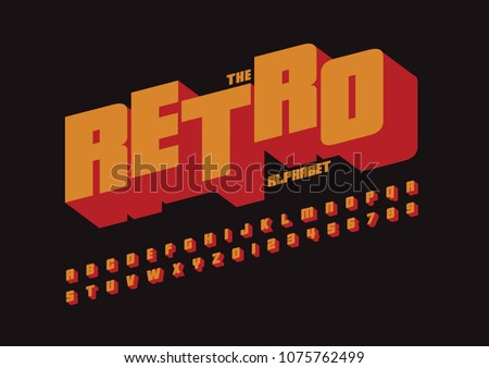 Vector of colorful retro font and alphabet ストックフォト ©
