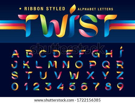 Vector of Colorful Twist Ribbons Alphabet Letters and numbers, Modern Origami stylized rounded Lettering, Minimal Fonts set for Celebrate, Decoration Party, Fashion. Funny Entertainment