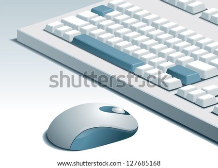 Vector of computer mouse and keyboard on gray background
