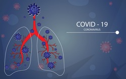 Vector of Coronavirus 2019-nCoV and Virus background with disease cells and red blood cell.COVID-19 Corona virus outbreaking Coronavirus respiratory influenza covid virus cells.