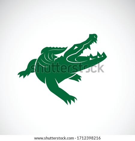 Vector of crocodile design on white background. Crocodiles logos or icons. Wild Animals. Easy editable layered vector illustration. Green crocodile. Reptile.