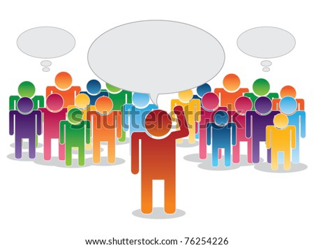 vector of crowd thinking and leader with area for text