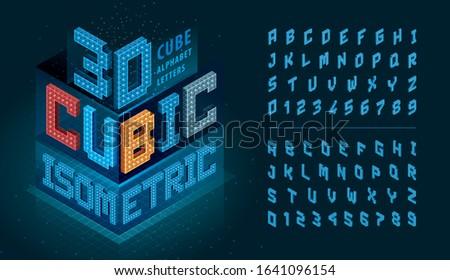 Vector of Cube Alphabet Letter, Abstract 3d Isometric Pixels stylized fonts, 3D alphabet. Isometric Cubes letter, Rubik Pixel lettering, Modern Cubic Letters set for Technology, Hi-tech, digital