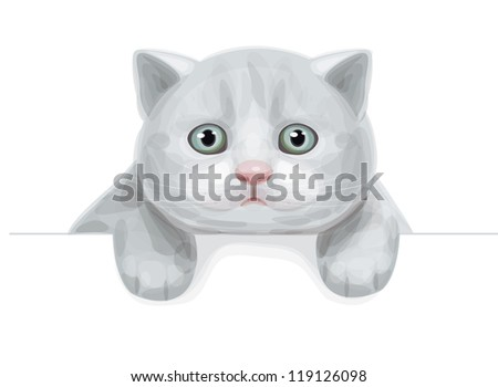 vector of cute kitten hiding by