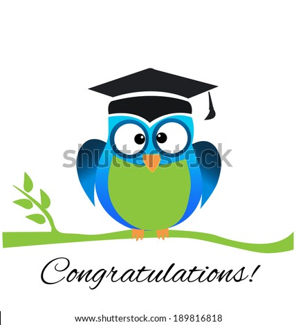Vector of Cute School and Graduation Owl greeting card