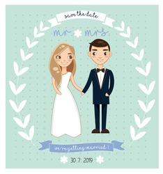 vector of cute wedding couple on wedding invitation card