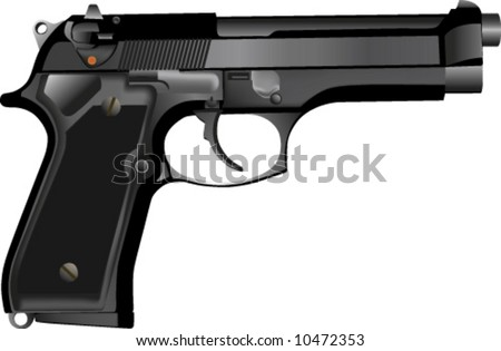 vector of 3D realistic 9mm handgun