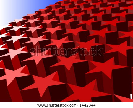 Vector of 3D red stars