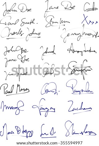 Vector of different handwritten signatures with blue and black ink pen