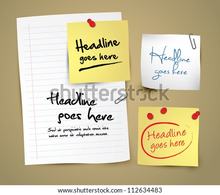 vector of different notepads and papers