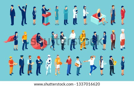 Vector of different people of blue collar and white collar professions hospital staff, surgeon, doctor, nurse, freelancers, businesswoman and businessman, engineer, artists.