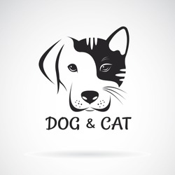 Vector of dog and cat face design on a white background. Pet. Animal. Easy editable layered vector illustration.