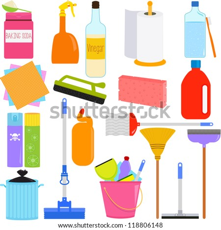Vector of  Domestic housework Tools for Washing, Household Cleaning Equipments, baking soda, vinegar, sponge, brush, chemical. A set of cute and colorful icon collection isolated on white background