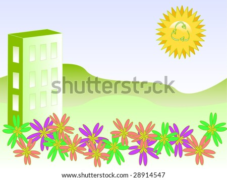 vector of ecology friendly building