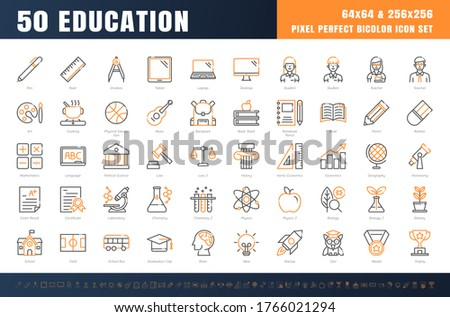 Vector of 50 Education and School Subject. Bicolor Line Outline Icon Set. 64x64 and 256x256 Pixel Perfect Editable Stroke. Vector. Stock photo ©