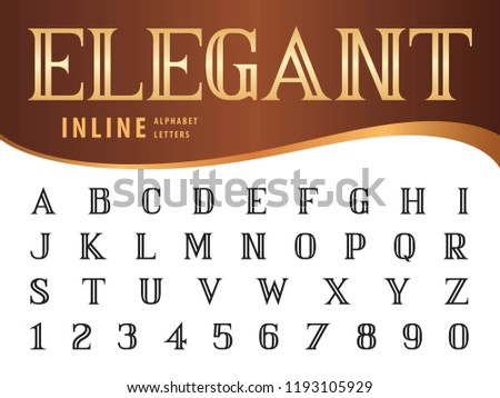 Vector of Elegant Alphabet Letters and numbers, Serif Inline fonts, Vintage and retro typography, Bold Serif Letters set for Contemporary, Classical, Superior, Honor, Antique,