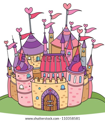 Vector of fairy tale castle for girl. - stock vector