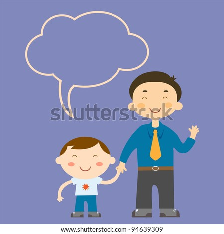 vector of father and son on